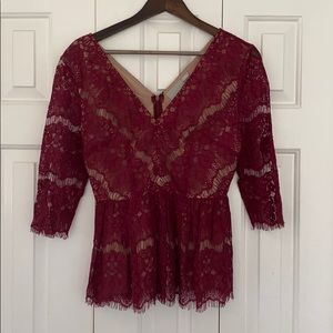 Maeve Burgundy Lace Top